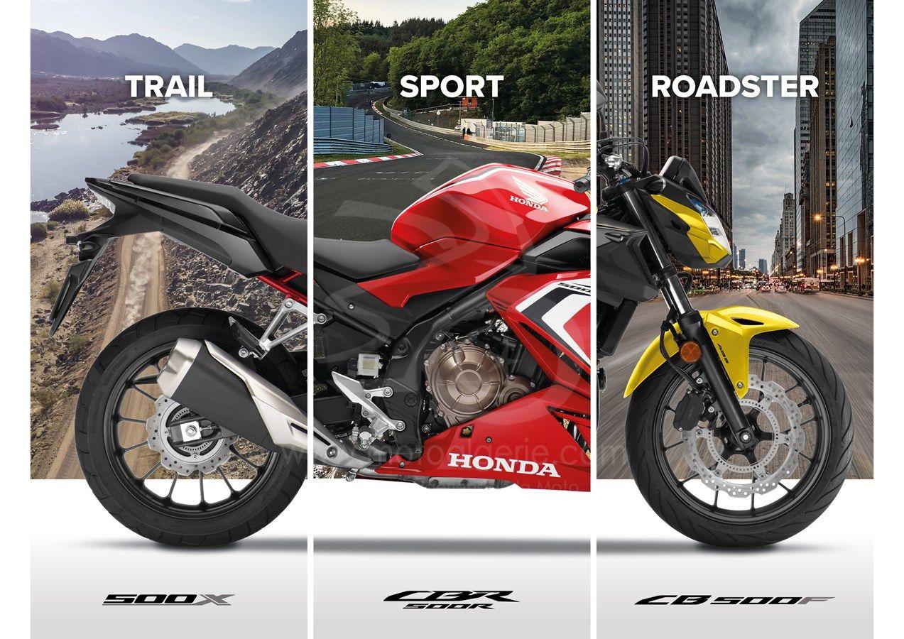 HONDA : Conformité Euro5, nouveaux coloris et nouveaux graphismes pour les CB500F, CBR500R et CB500X 2021