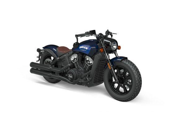 Indian Scoot Bobber 2021 - INTL_ICON_Thunder_Black_Azure_Crystal_Front_3Q